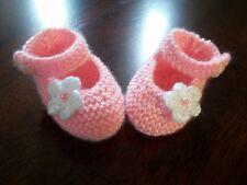 NEW Handmade Crochet Baby Booties size 0 ( Pink ) Newborn