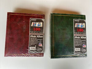 (2) Pioneer LM100 Magnetic Photo Albums 5x7 100 Page (50 Sheets) Green & Red