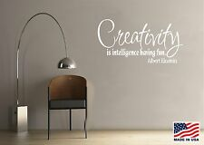 Vinyl Wall Decal Art Quote Saying Decor Creativity is Intelligence Einstein