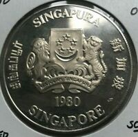 1980 Singapore 50 Dollars Silver Proof - Only 15,000 Minted