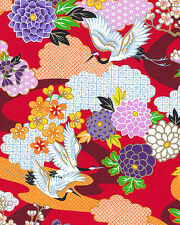 Red Floral Garden: Asian Japanese Kimono Design Quilt Fabric (1/2 Yd.)