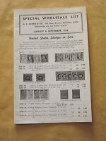 VINTAGE AUGUST & SEPTEMBER 1938 H E HARRIS SPECIAL WHOLESALE LIST STAMP BOOKLET