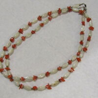 Vintage Mother of Pearl Coral Chip Necklace 1970's LONG