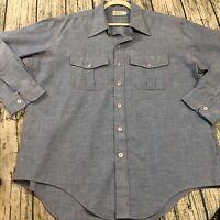 L.L. Bean Mens Vtg Button Front Shirt Sz 18 XXL Chambray Blue Long Sleeve 50s