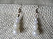 Handmade white beaded drop earrings - pierced ears