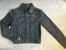 BLUE DENIM JACKET WITH ORANGE STITCHING & BRONZE BUTTONS FROM GAP - SIZE SMALL