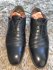 Black Leather Santoni mens shoes size 8