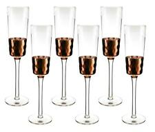 (D) Crystal Wine Flute Glasses with Copper Bowl Fish Scale Design, Set of 6