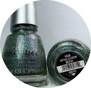 China Glaze Nail Polish Optical Illusion 1028 Aqua Green Holographic Glitter