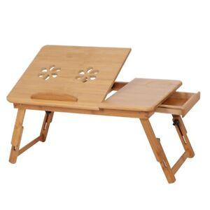 Laptop Breakfast Table Bamboo Laptop Desk, DIY Portable Riser Stand For Laptop