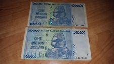 LOT of Two- ZIMBABWE 1 MILLION DOLLARS 2008 P 77 CIRCULATED SERIES 100 TRILLION