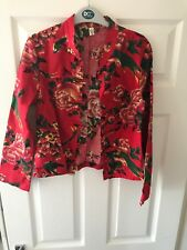 Red floral linen jacket size 6