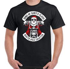 Christmas Biker T-Shirt Sons Of Santa Claus Anarchy Mens Funny Motorcycle Bike