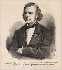 1881 : ILLUSTRATION / GRAVURE : SAVANT GéOGRAPHIE  PORTRAIT Eugène CORTAMBERT