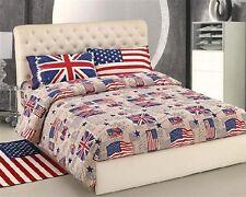 Copripiumino Lenzuola Federe Bandiere USA UK Singolo Matrimoniale Bandiera flag