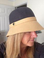 FURLA Women Vintage Wool Cloche Bucket Hat 1920's flapper style Sz S Grey Camel