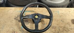 MOMO D35 BLACK LEATHER 350mm STEERING WHEEL - WITH MX5 FITMENT BOSS + HORN PUSH