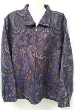 BonWorth Womens Purple Paisley Floral Full Zip Up Collar Jacket Large