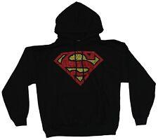 Superman Mens Hoodie Sweatshirt - Word Filled Red and Yellow Logo Image