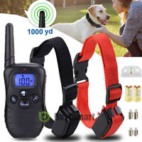 NEW 1000 Yard 2 Dog Shock Training Collar Pet Trainer with Remote 4 Modes