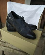 BRUNO BORDESE WASHED DENIM LEATHER OXFORD LACE UP SHOES! CAP TOE SANTONI STYLE!