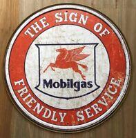 New Mobilgas Friendly Service Round Tin Metal Sign NR!! Vintage NEW