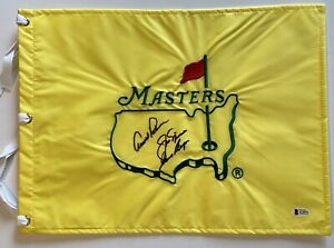 Arnold Palmer Jack Nicklaus player signed Masters Flag undated big 3 beckett loa