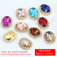 10p 25x18mm color sew On oval faceted glass Jewels crystal rhinestone trim Beads