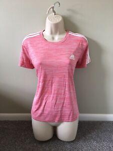 Adidas Womens Pink PrimeGreen Athletic Active Gym Shirt (M)
