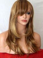 Blonde Brown Wig Party Long Full with Fringe Heat Resist Wig Ladies Hair Wig K9