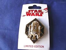 Disney Star Wars * R2-D2 - LAST JEDI * New on Card Sculpted Golden LE Pin