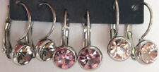 3 paar silberfarbene Ohrringe Glas Steine 2,2 x 0,8 Ohrhänger NEU lila rosa