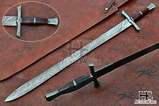 HUNTEX Custom Handmade Damascus 890mm Long FullTang Rosewood Handle Viking Sword