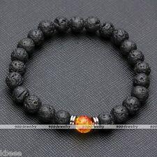 Natural Lava Rock Stone Bead Gemstone Red Yellow Amber Bead Stretchy Bracelet