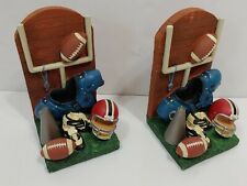 "Vintage 7.5"" Library Book Sports Bookends Football Helmet Old Antique Mega Horn"