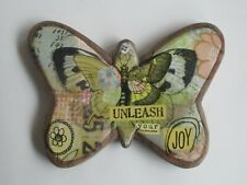 B Kelly Rae Roberts WOOD CARVED BUTTERFLY Unleash your Joy wall hanging home