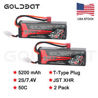 2pcs 5200mAh 50C 7.4V LiPo Battery 2S Deans Plug Hardcase for RC Car Truck Boat