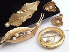 Vintage GENUINE Pearl Gold Filled Leaf  Brooch Earrings Krementz LOT