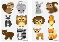 12 Woodland Animals Tattoos Birthday Party Loot Bag Toy Fillers For Kids