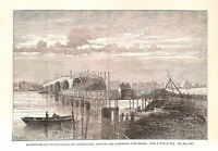 Blackfriars Bridge.London.Printed in 1879.Old & New London.Antique print.Art