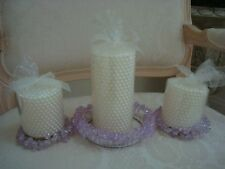 Set Of 3 Lavender Beaded Wedding Candle Rings *New Old Store Stock* Pretty