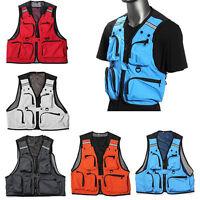 Mens Sleeveless Utility Multi Pocket Zip Hunting Fishing Shooting Fly Mesh Vest