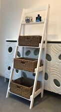 4 Tier Ladder Shelf Display Stand Storage Shelves Shabby Chic Wicker Baskets