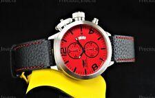 ➤NEW Invicta Men's 52mm CORDUBA Quartz Chronograph Red Dial Black Strap SS Watch