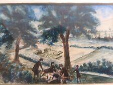 Dessin  Pastel Craie Grasse Sur Papier A Identifier Pique-nique Déjeuner 1950