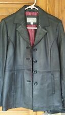 Croft & Barrow Genuine Black Leather Coat/Jacket NWOT Small