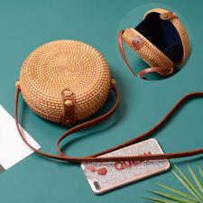 Women Summer Round Bali Straw Bags Rattan Bag Handmade Woven Beach CrossBody Bag