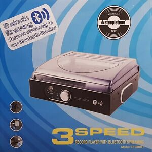 STEEPLETONE ST938 STAND-ALONE 3-SPEED RECORD PLAYER WITH BUILT IN SPEAKERS