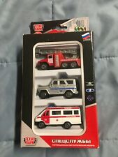 New in a package set of 3  die cast Russian emergency vehicles  by TechnoPark