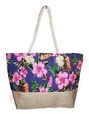 Sac de plage fleurs d'hibiscus et toile de jute anses corde cabas de plage NEUF